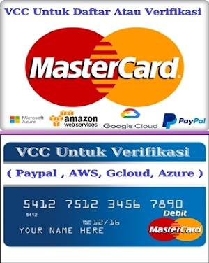 VCC Murah Untuk Daftar maupun Verifikasi Paypal
