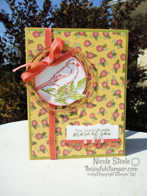 free as a bird, ornate garden, using patterned paper, stampin' up!, thinking of you card, handmade cards, how to make a card, how to stamp, learn to stamp, hobbies, nicole steele, independent stampin' up! demonstrator from pittsburgh pa, the joyful stamper, free stamping tutorials, card instructions