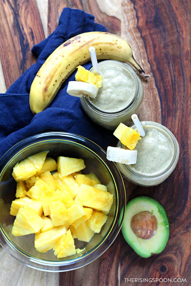 Easy & Healthy Pineapple Banana Avocado Smoothie