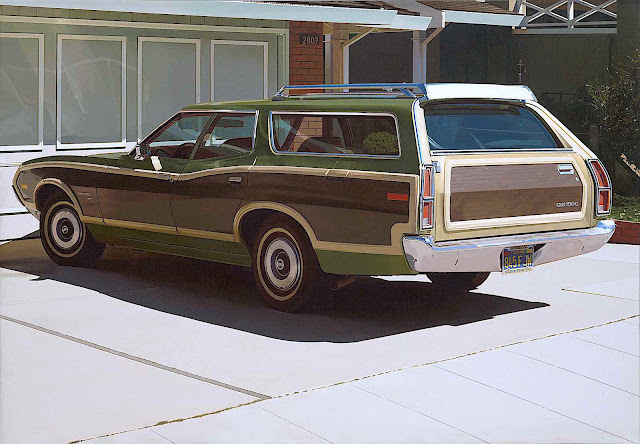 Robert Bechtle 1974 realism painting of a station wagon car parked outside a home