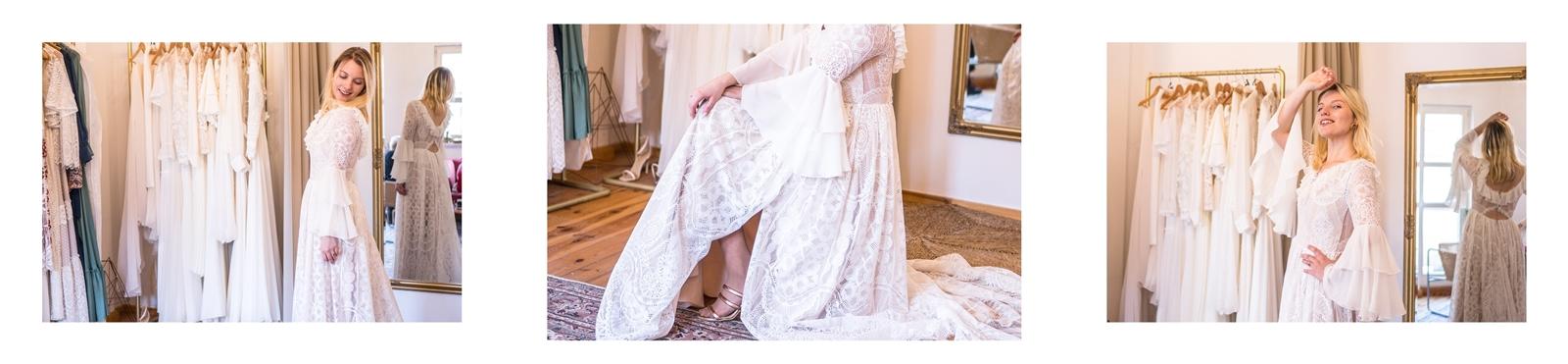 10a długa sukienka ślubna z koronki z rozcięciem z odpinanym długim trenem dołem dla wysokich dziewczyn suknia ślubna boho w stylu rustykalnym