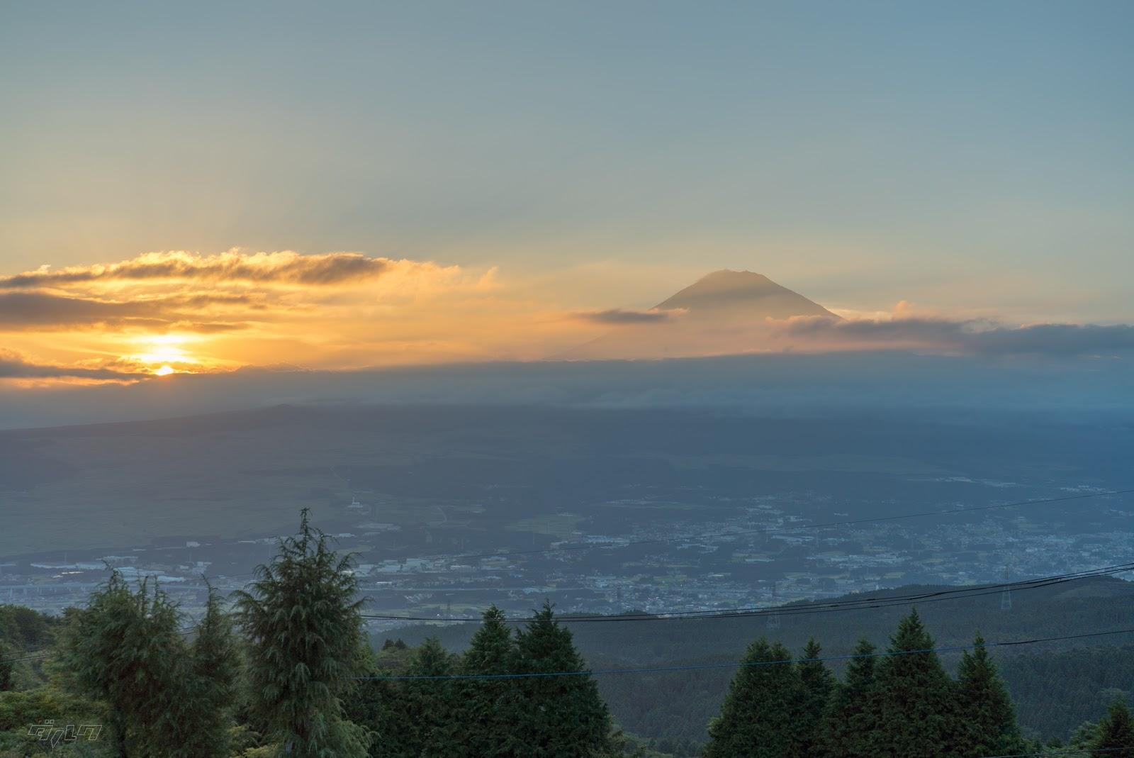 富士山日没