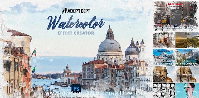CreativeMarket – Watercolor Effect Photoshop Creator