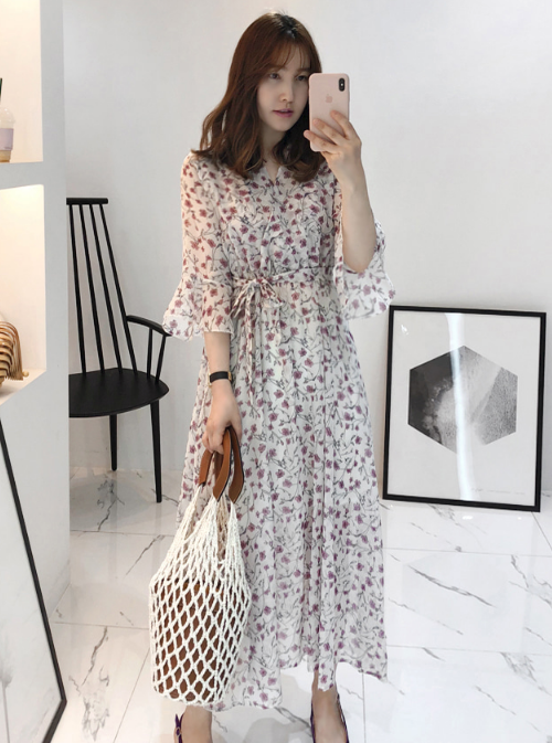 Tie-Waist 3/4 Sleeve Floral Dress