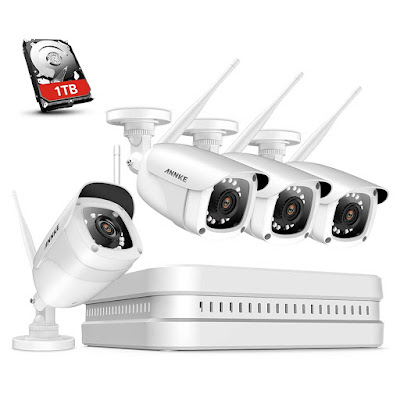 ANNKE Wireless Camera System, 8CH 1080P Full HD Wireless NVR Video Surveillance System with 1TB Hard Drive, Plug Play System,(4) 1080P WiFi IP Cameras Outdoor Use, 100ft Night Vision, HDMI Output