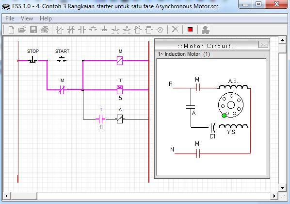 Contoh 3 Rangkaian starter untuk satu fase Asynchronous Motor