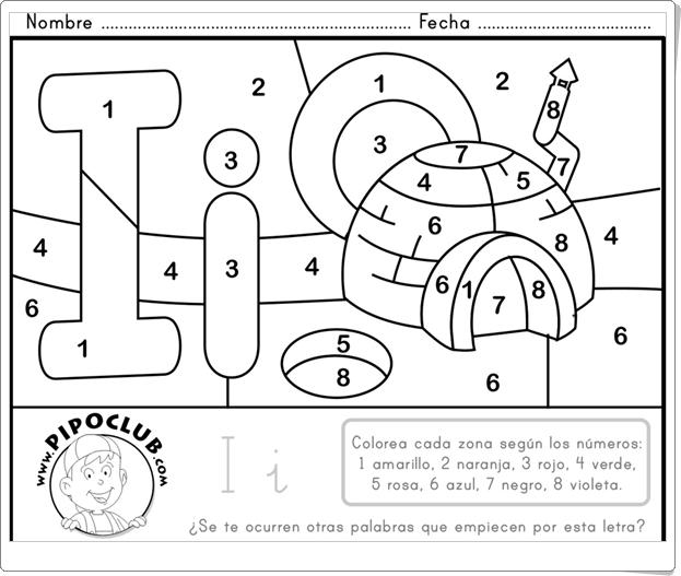 """""""Colorea según el número"""" (Ficha de Educación Infantil de Pipo)"""