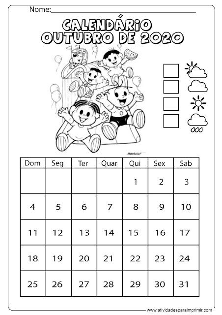 Calendário outubro 2020