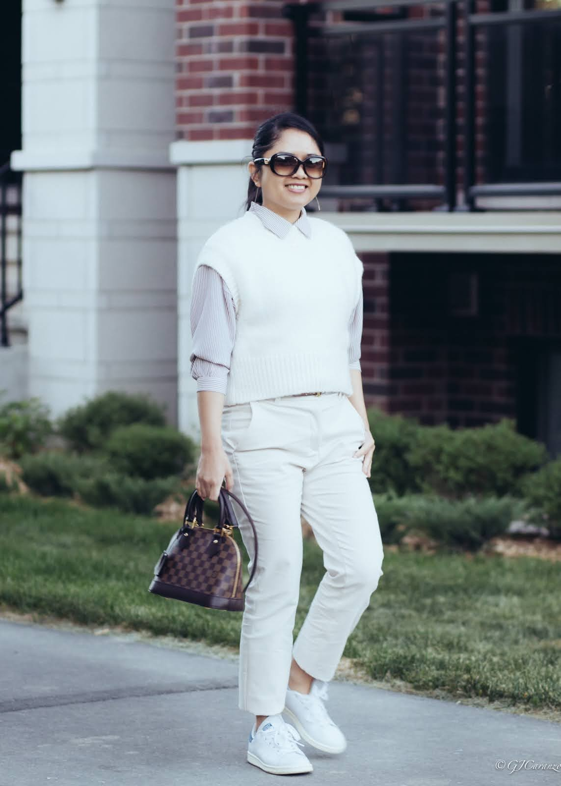 petite spring outfit idea_knitted gilet_slacks