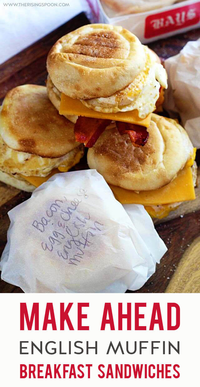 An easy recipe for English muffin breakfast sandwiches that you can make ahead of time for yummy on-the-go breakfasts. Keep them in the fridge for fast & simple meals all week long or prep them a month in advance and store in the freezer for later. Double or triple the recipe if you're batch prepping for a crowd!