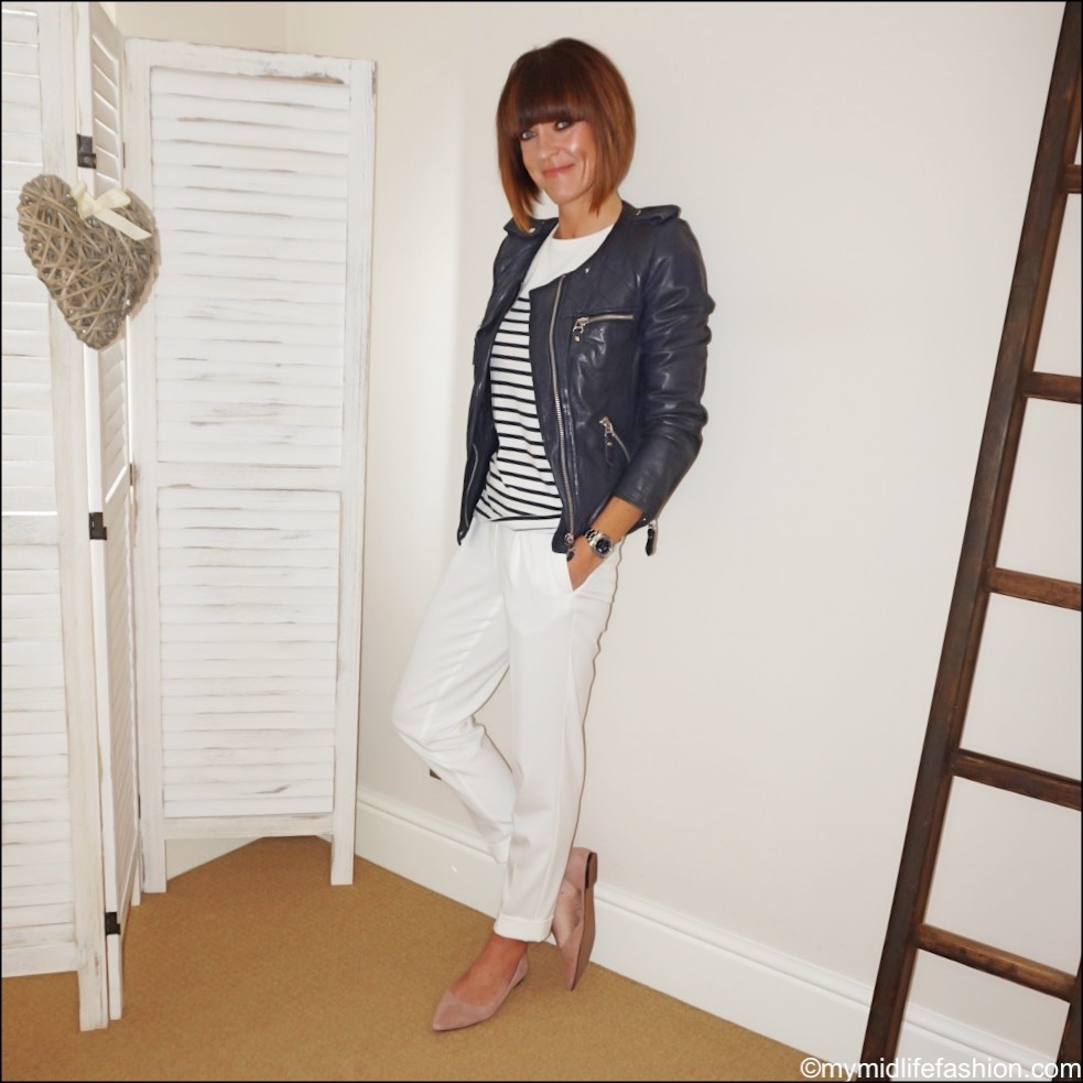 my midlife fashion, Isabel Marant Etoile leather quilted jacket, Claudie Pierlot Breton top, marks and Spencer off white trousers, h and m suede pointed flat ballet shoes