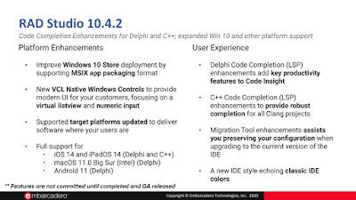 RAD Studio, Delphi и C++Builder roadmap на 2020/2021 - 10.4.2 enhancements