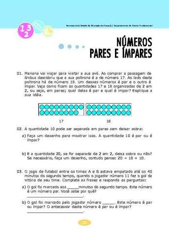 Números Pares e Ímpares - Coletânea de Atividades Matemática.