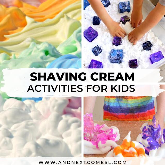 Shaving cream sensory play activities for kids