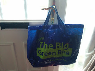 Tesco Bag hanging on Front Door