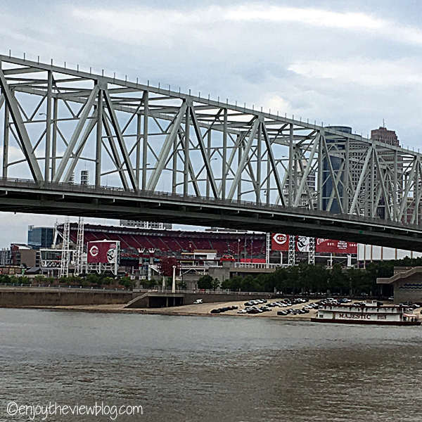 View of Great American Ballpark in Cincinnati from the Newport Italian Festival along the Ohio River in Newport, Kentucky