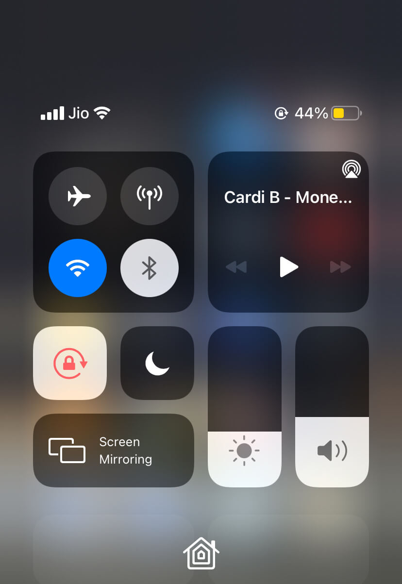 YouTube music playback in Control Center