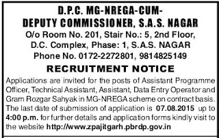 Applications are invited for Assistant Programme Officer, Technical Assistant, Computer Assistant, Data Entry Operator Posts in Department of Panchayat Raj Govt of Punjab under Mahatma Gandhi National Rural Employment Guarantee Act (MGNREGA)