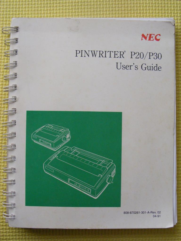 Nec pinwriter p20