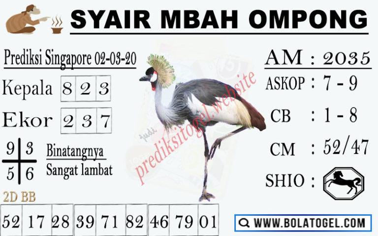 Prediksi Togel JP Singapura 02 Maret 2020 - Syair Mbah Ompong