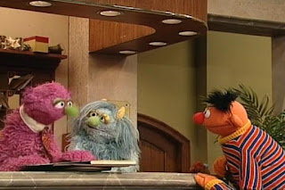 Ernie greets Humphrey and Ingrid. Sesame Street 123 Count with Me