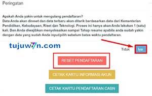 Tekan tombol reset untuk mereset pendaftaran pppk tahun 2021