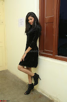 Mounika in a velvet short black dress for Tick Tack Movie Press Meet March 2017 034.JPG