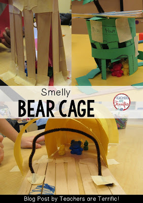 STEM Challenge: The challenge was to build a cage for the bear. The kids had counting bears, craft sticks, construction paper, pipe cleaners, tape, and scissors. Check the blog post for more!