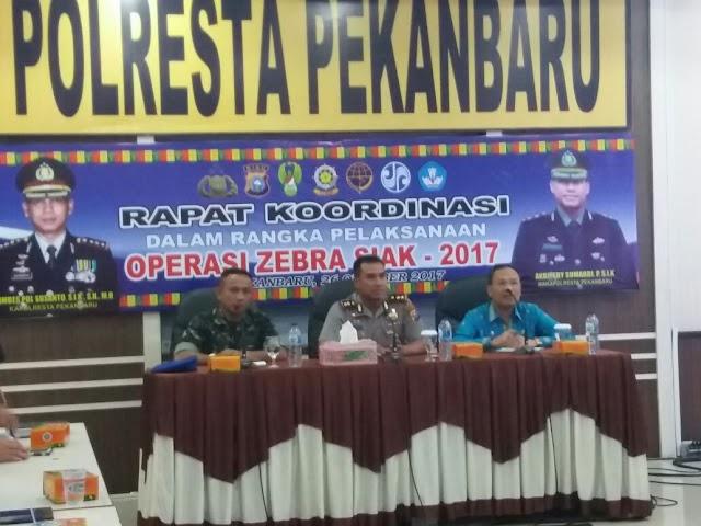 Polresta Pekanbaru Gelar Rapat Eksternal Antar Instansi Dalam Rangka Ops Siak 2017.