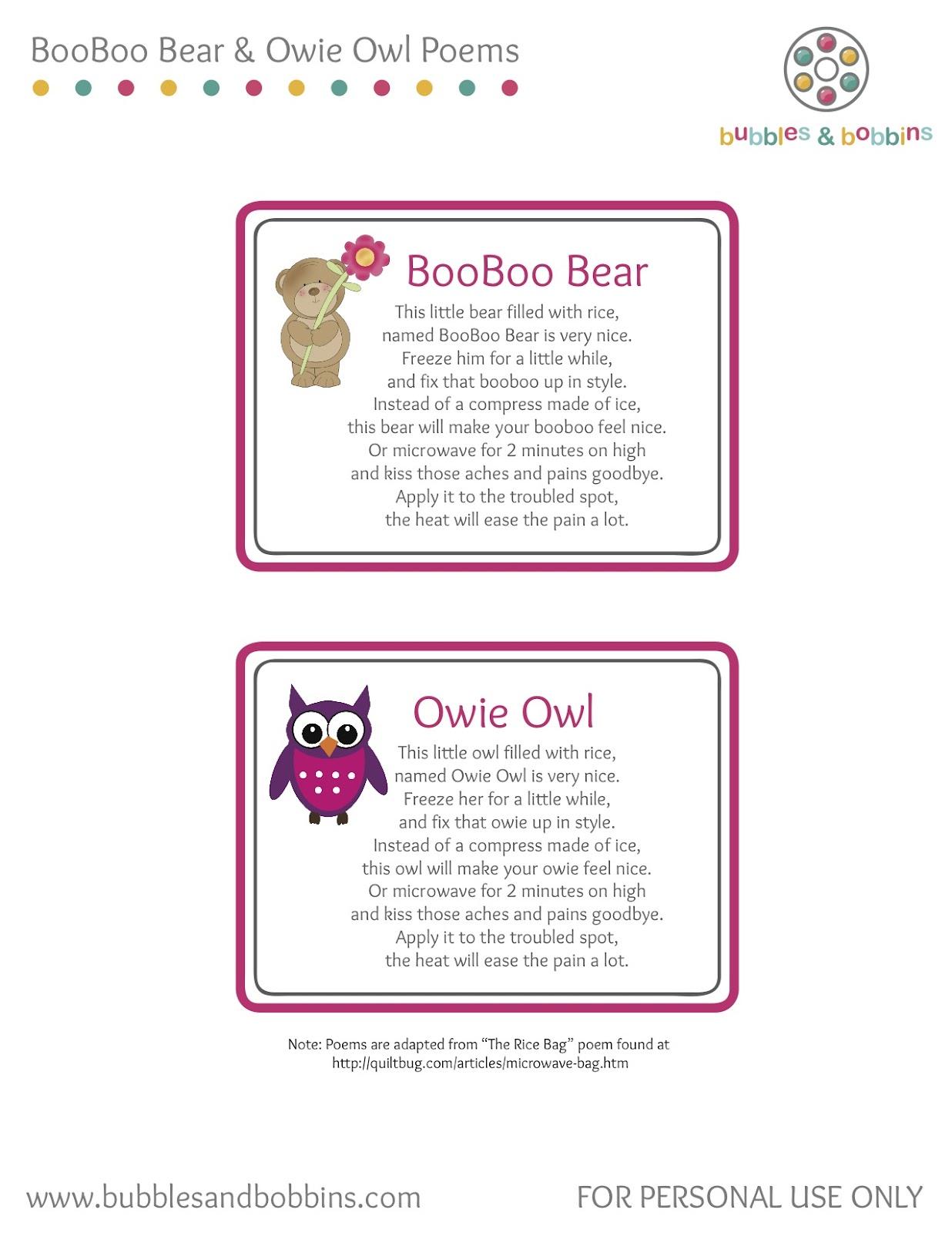 Booboo Bear Amp Owie Owl Poems