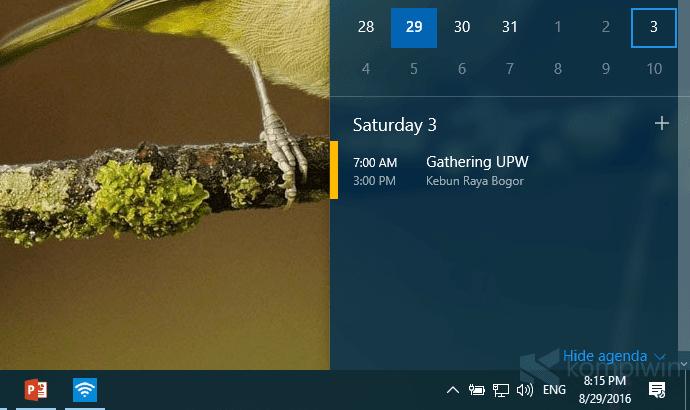 Cara Lihat dan Tambah Calendar Event Langsung di Taskbar 3