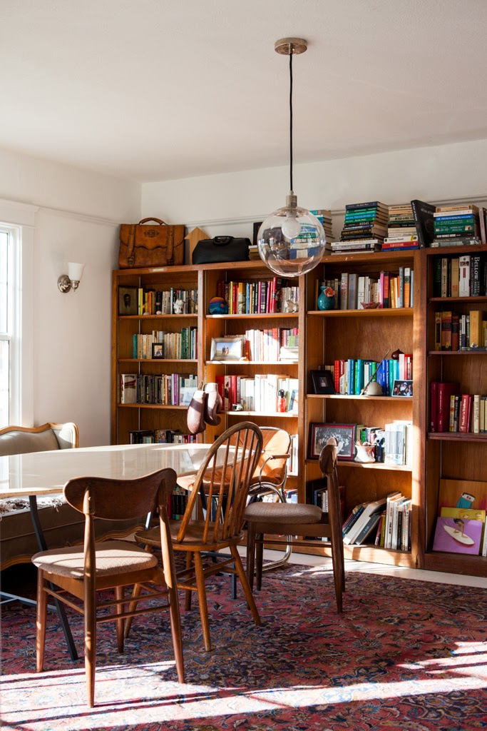 sunlight rays and books in dining room