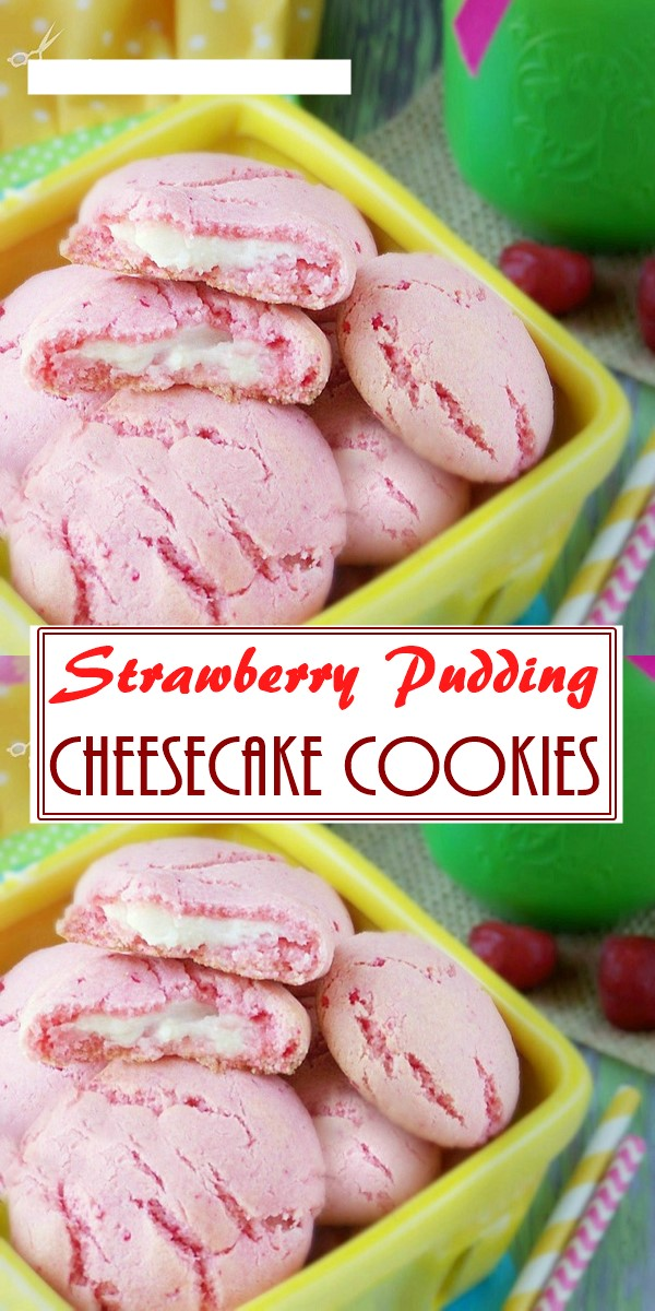 Strawberry Pudding Cheesecake Cookies #cookiesrecipes