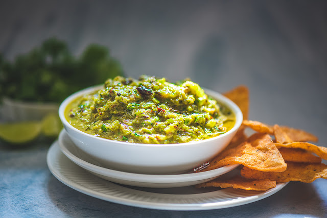 roasted green tomato salsa, recipe, photography