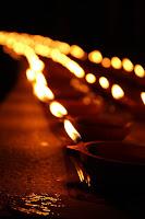 Rows of Diyas or Oil Lamps for Diwali