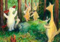 Postikorttikuvitus, missä Hulmu Hukka ja Haukku Koira ovat pupujen hääjuhlissa metsän keskellä / Postcard illustration of Hulmu and Haukku dog in wedding party in forest