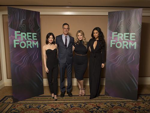 PLL actresses Lucy Hale, Sasha Pieterse, Shay Mitchell & Freeform president Tom Ascheim