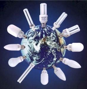 Imagen al Día Mundial del Ahorro de Energía con focos ahorradores