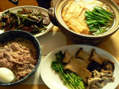 夕食の献立 献立レシピ 飽きない献立 豚野菜ナベ キノコ炒め レバニラ 冷麺