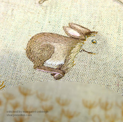 Embroidered hare's body from Jenny McWhinney's Queen Anne's Lace