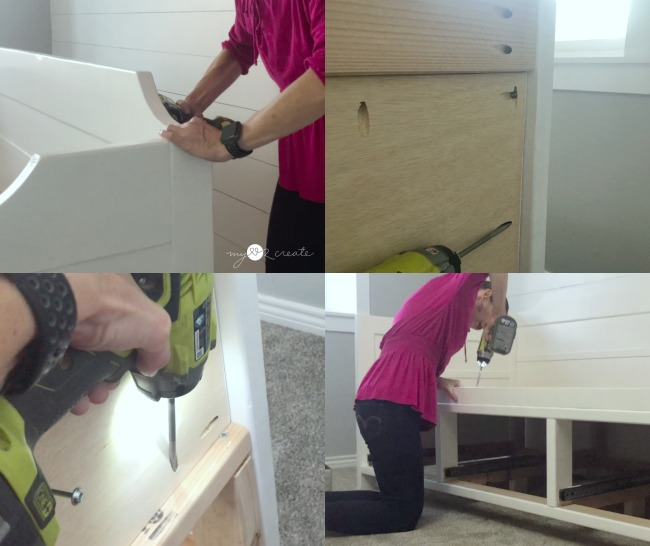 attaching back of daybed and front mattress stop