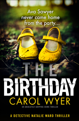 The Birthday book cover, a pair of yellow shoes on a patch of dark grass