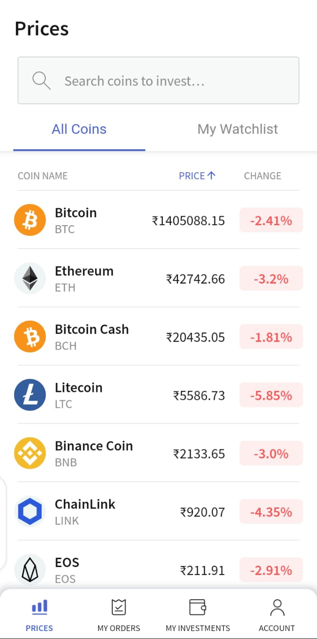 HomePage of CoinDCX Go