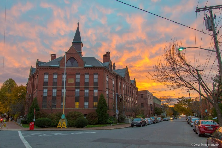 Portland, Maine Fall October 2014 Sunset behind Butler School in the West End Pine Street photo by Corey Templeton