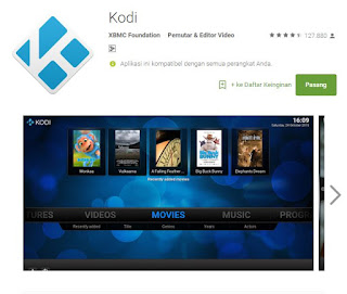 Kodi-Streaming film dari Android