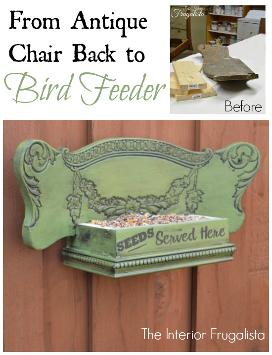 Antique chair back bird feeder