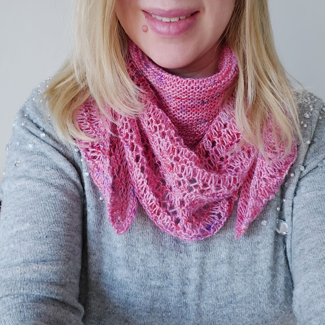 Rosewater Shawl knitted in beautiful hand-dyed yarn