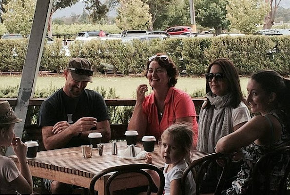 The Australian-born royal was spotted with her brother John Donaldson, his wife Leanne and Mary's nieces as they stopped for coffee after a visit to a chocolate factory in Perth.