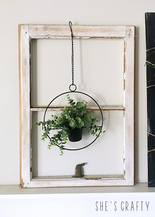 Spring Home Tour - farmhouse, Easter and vintage style-vintage windows, hanging plant