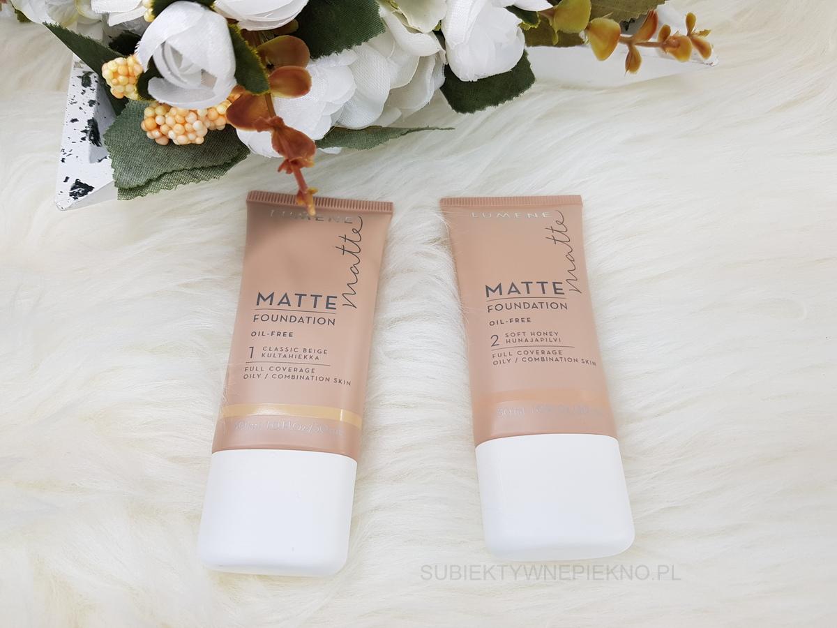 Nowości kwiecień 2018 - podkład Lumene Matte Foundation 1 Classic Beige, 2 Soft Honey